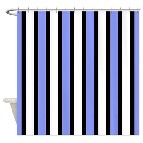 Black And Blue Stripes Shower Curtain By Stripstrapstripes