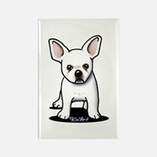 White Frenchie Rectangle Magnet