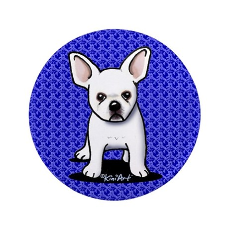 """White Frenchie 3.5"""" Button (100 pack)"""