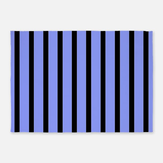 Black and Blue Stripes 5'x7'Area Rug