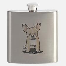B/W French Bulldog Flask