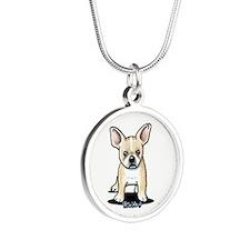 B/W French Bulldog Silver Round Necklace