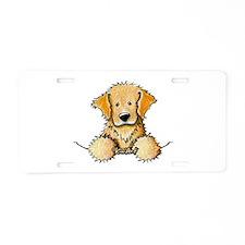Pocket Golden Retriever Aluminum License Plate