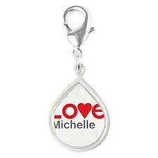 I Love Michelle Silver Teardrop Charm