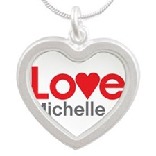 I Love Michelle Silver Heart Necklace