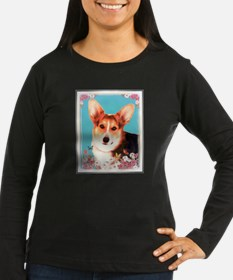 Pembroke Corgis Tri-color with floral frame Long S