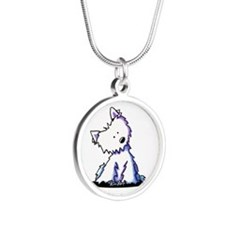 Curious Westie Silver Round Necklace