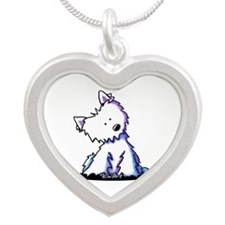 KiniArt Curious Westie Silver Heart Necklace