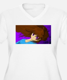 Purple Eyed Brown Haired Girl Plus Size T-Shirt