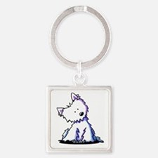 Curious Westie Square Keychain