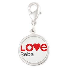 I Love Reba Silver Round Charm