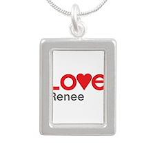 I Love Renee Silver Portrait Necklace