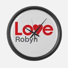 I Love Robyn Large Wall Clock