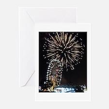 Fireworks Over Fairground Print Greeting Cards (Pk