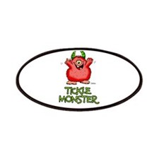 Red Tickle Monster with horns and one eye Patches