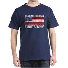 Distressed US Flag Because MERICA T-Shirt