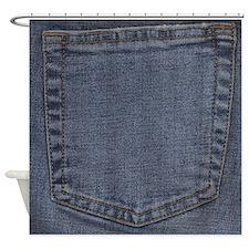 Blue Jeans Pocket Shower Curtain