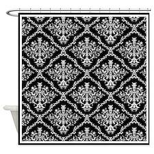 Black and White Elegant Damask Shower Curtain