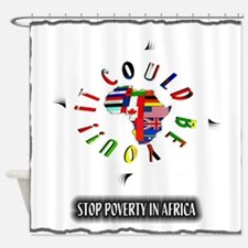 stop poverty in africa art illustration Shower Cur