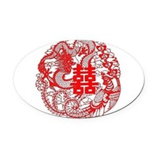 """""""Double Happiness"""" Oval Car Magnet"""