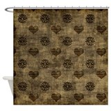 Brown heart Shower Curtains