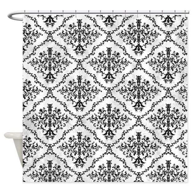 Black And White Damask Shower Curtain By Be_inspired_by_life