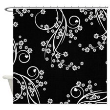 Little Flowers Black and White Shower Curtain