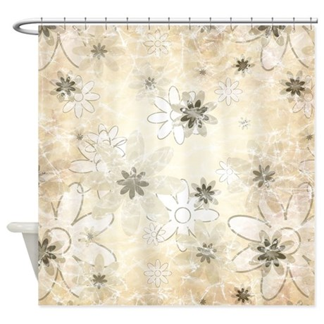 Abstract Neutral Flowers Shower Curtain By Be Inspired By Life