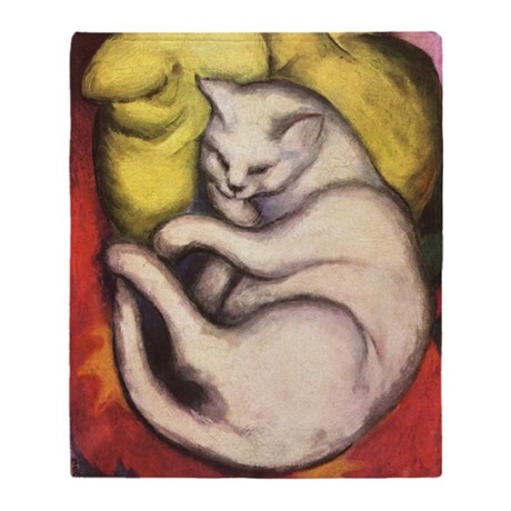 Cat on a Yellow Cushion Throw Blanket