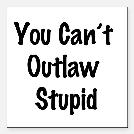 """Outlaw stupid Square Car Magnet 3"""" x 3"""""""