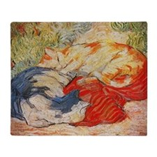 Cats on a Red Cloth Throw Blanket