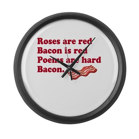 Bacon Poem Large Wall Clock