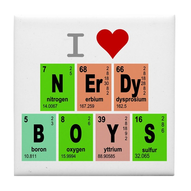 I Love Heart Nerdy Boys Elements Tile Coaster By