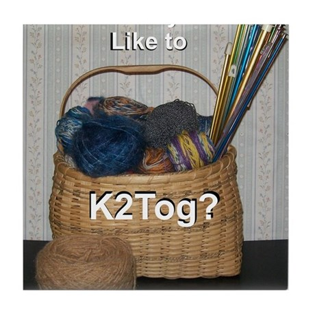 Would you like to K2tog? Tile Coaster