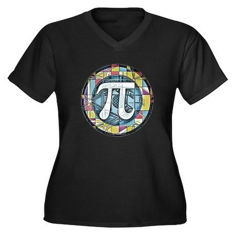 Pi Symbol 3 Women's Plus Size V-Neck Dark T-Shirt