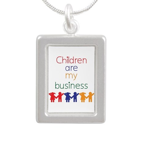 Children are my business Silver Portrait Necklace