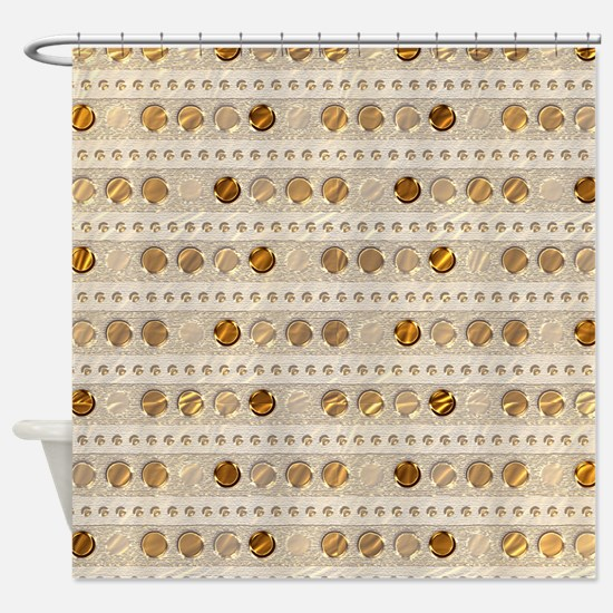 Golden Dots and Stripes Shower Curtain