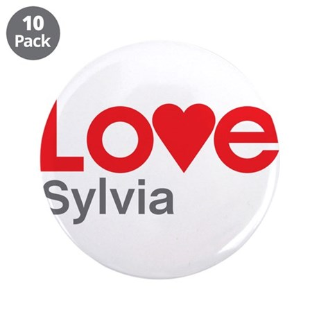 """I Love Sylvia 3.5"""" Button (10 pack)"""