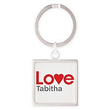 I Love Tabitha Square Keychain