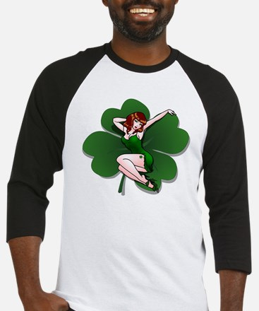 St. Patrick's Pin-Up Girl Lucky Shirts Baseball Je