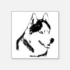 "Husky Malamute Sled Dog Art Square Sticker 3"" x 3"""