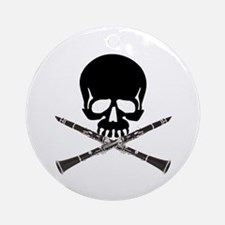 Skull with Clarinets Ornament (Round)