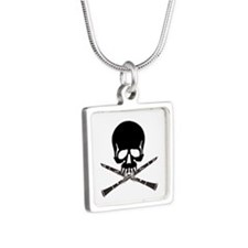 Skull with Clarinets Silver Square Necklace