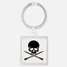 Skull with Clarinets Square Keychain