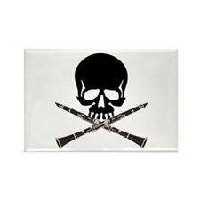 Skull with Clarinets Rectangle Magnet