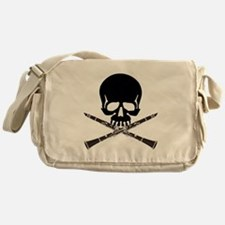 Skull with Clarinets Messenger Bag