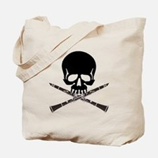 Skull with Clarinets Tote Bag