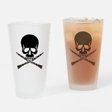 Skull with Clarinets Drinking Glass