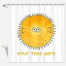 Pufferfish. Add Your Text. Shower Curtain