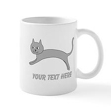 Jumping Gray Cat and Text. Mug